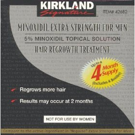 Kirkland signature extra strength 5 % minoxidil hair regrowth treatment for men, 4 month supply (includes 4 bottles - 2 oz each) - free ponds product gift sample with every order