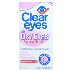 CLEAR EYES For Dry Eyes Plus Redness Relief 0.5oz /15ml