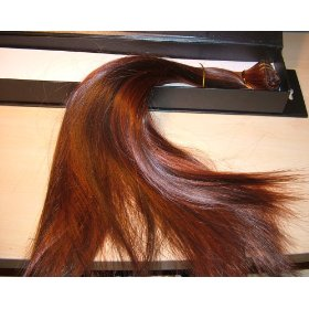 Herstyler elite professional clip-on hair extensions 7 pieces of hair st hr03/br17 red & brown