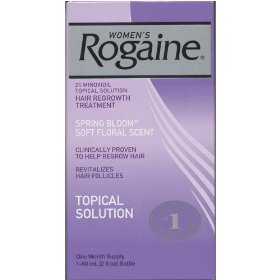 Women's rogaine, hair regrowth treatment, 2% minoxidil topical solution, spring bloom soft floral scent, one month supply (1 - 2 fl oz bottle)
